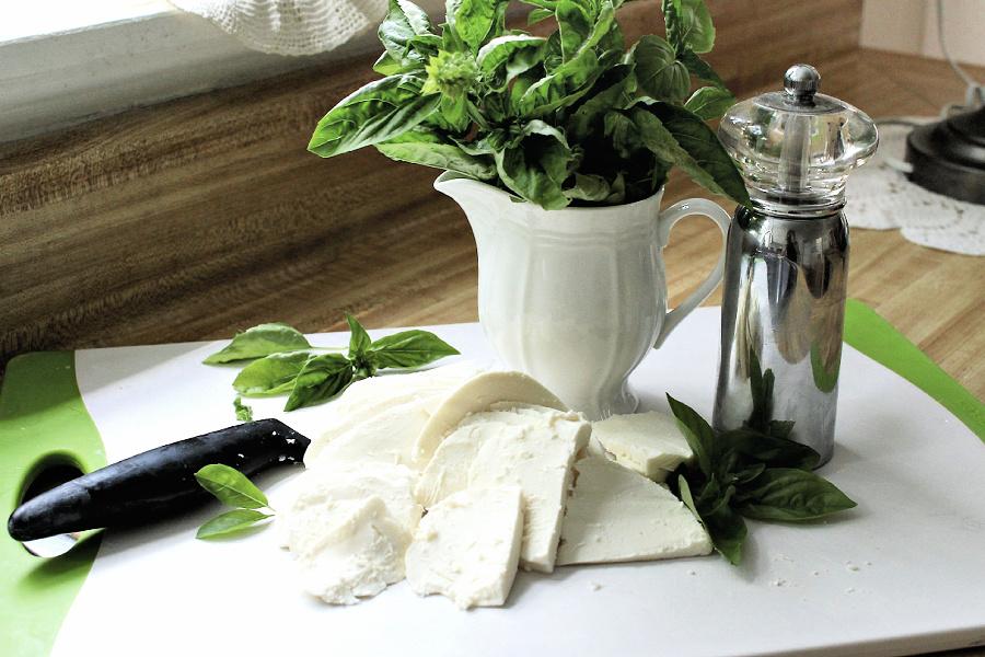 Fresh mozzarella cheese for roasted tomato Caprese salad