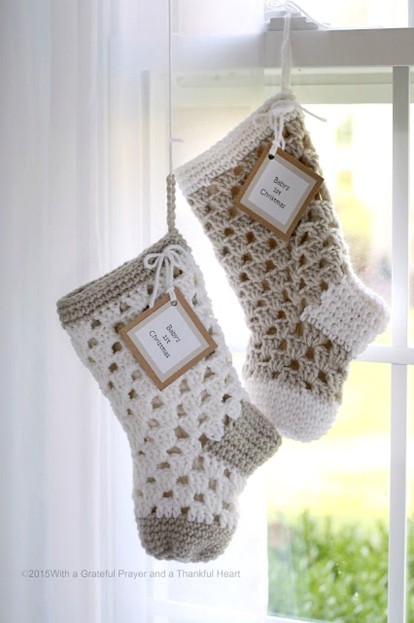 Sweet pattern for 1st Christmas crochet baby stocking www.gratefulprayerthankfulheart.com