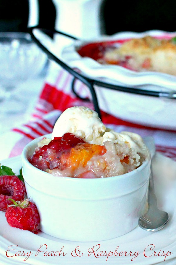 Make an easy Peach & Raspberry Crisp using fresh summer peaches and plump raspberries with a lovely crumb topping. Serve with a scoop of vanilla ice cream.