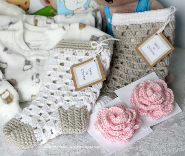 Sweet pattern for 1st Christmas crochet baby stocking www.gratefulprayerthankfulheart.com