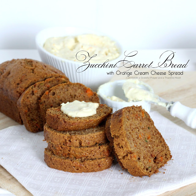 Easy quick bread recipe for Zucchini Carrot Bread with Orange Cream Cheese Spread