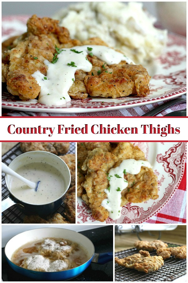 Crispy, moist and easy fried chicken with creamy mashed potatoes is a great comfort meal. It begins with boneless chicken thighs cooked in a skillet.