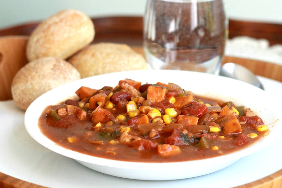 Easy recipe for Spicy Chicken and Vegetable Stew is reminiscent of Moroccan flavors. Rich, flavorful and full of nutritious vegetables.