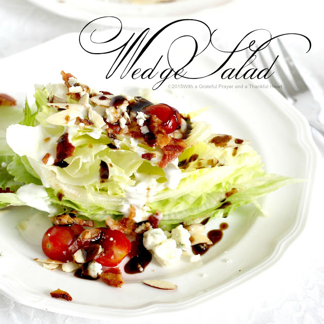 Make a Wedge Salad with cold, crisp Iceberg lettuce, Top with Bleu cheese dressing, bacon and garnish with tomato. Drizzle on an amazing balsamic glaze.