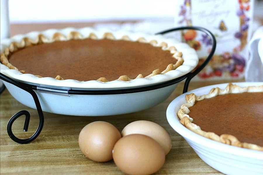 Famous Libby's Pumpkin Pie recipe is so easy and it makes two delicious pies! A Thanksgiving classic on your dessert table.