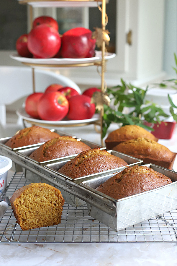 Easy recipe for delicious pumpkin quick bread. Full of cinnamon, nutmeg, cloves & ginger, these mini loaves are just the right size for snacking or to share with friends. Bake ahead & freeze for Thanksgiving.