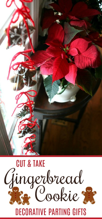 Give holiday visitors gingerbread cookie parting treats. Let them snip from a decorative swag, hung by the door, a gingerbread cookie as they depart.