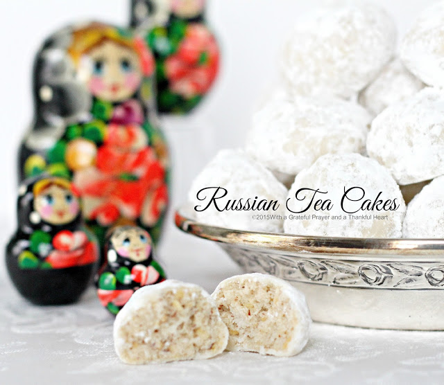 Called Russian Tea cakes, Mexican Wedding Cookies or Snowballs, these tender  cookies coated in powdered sugar are melt in your mouth yummy!