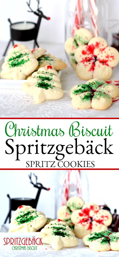Spritz or Spritzgebäck cookies, are festive and buttery, made using a cookie press then decorated with colorful sugars. Easy to make Christmas favorite.