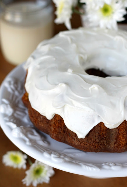 Easy bundt cake recipe for Sweet Potato Pound Cake with cream cheese frosting.