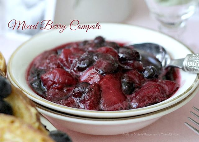 Mixed berry compote and recipe for no knead bread French Toast for a lovely breakfast or brunch meal.
