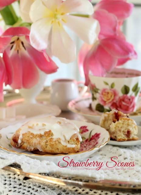 Breakfast, teatime, snack time, anytime, scones just hit the spot. These strawberry scones are made with dried strawberries but can be made with other dried fruit. They have a delicate strawberry flavor and are glazed to add additional sweetness.