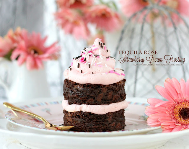 Tequila Rose Strawberry Cream Frosting is a pretty-in-pink Valentine's Day dessert and a snap to make. Bake up a batch of brownies or cupcakes, pipe on the frosting; sprinkle with jimmies then share with the love of your life!