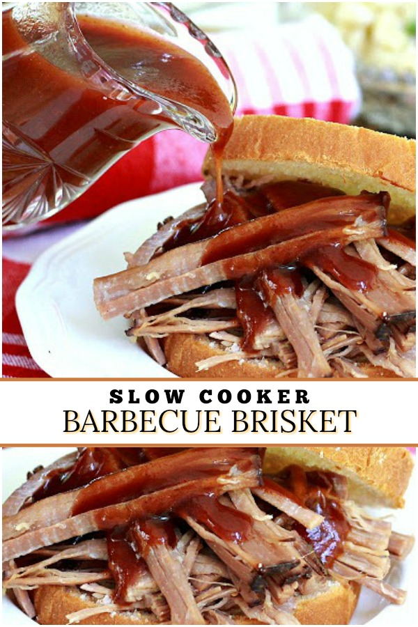 Super easy recipe for tender and delicious slow cooker barbecue beef brisket for those busy days when you want a great meal for your family.