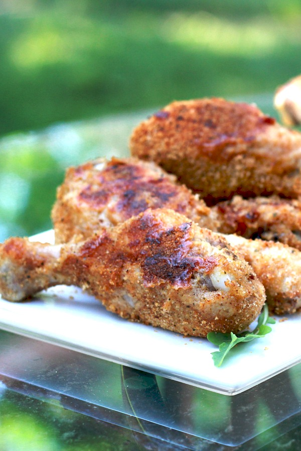 Crispy, delicious chicken without frying using an easy recipe for homemade shake and bake coating to bake right in the oven.