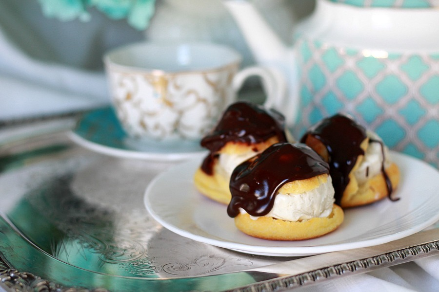 Profiteroles, or cream puffs, look elegant but are easy to make. Filled with pastry cream or ice cream, profiteroles can be eaten plain, dusted with confectioners' sugar or covered with a wonderful chocolate sauce or ganache for a delicious dessert.