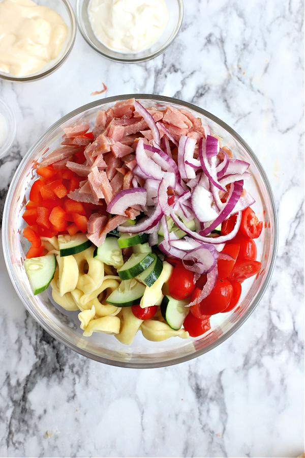fresh vegetables for Hawaiian pasta salad
