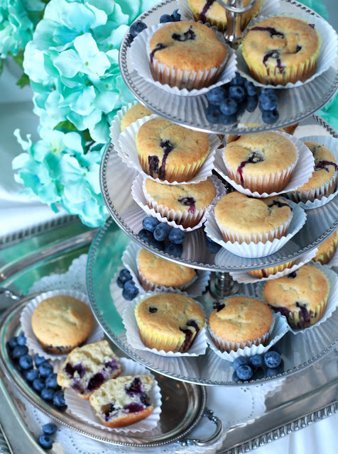 Use fresh or frozen blueberries to make yummy, cake-like muffins. Substitute applesauce for some of the butter to make them a little healthier.