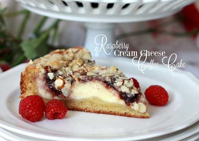 Easy recipe for Raspberry Cream Cheese Coffee Cake with a deep golden brown crust and sweet cream cheese filling with raspberry and crunchy almond topping.