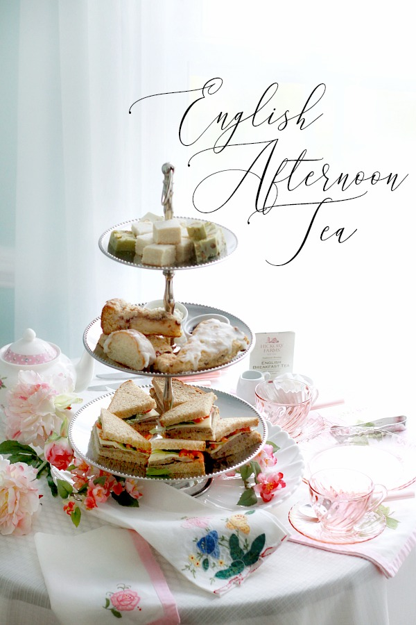 Easy to prepare an English Afternoon Tea just like you might have in London, England with scones, petite sandwiches, shortbread and of course, tea.