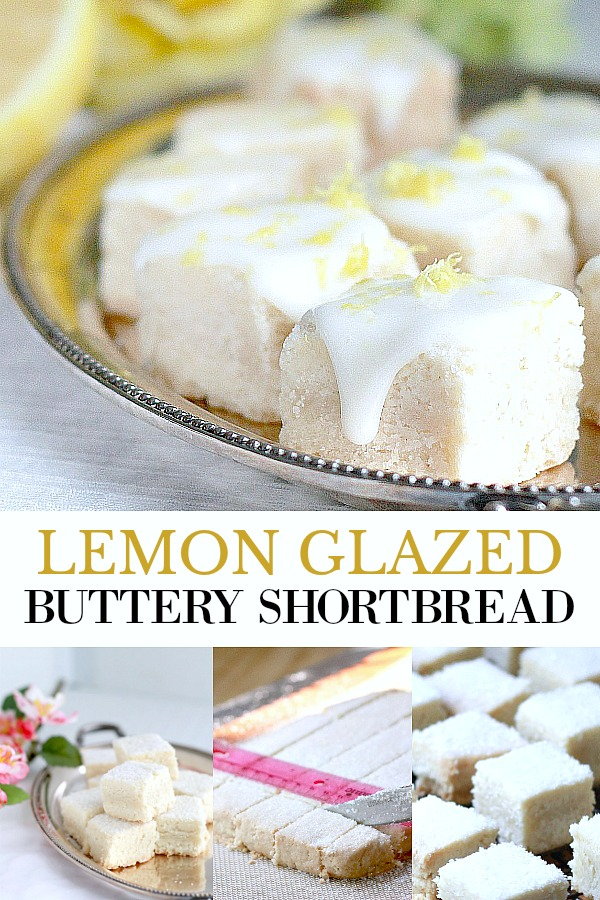 Lemon glazed buttery shortbread are delicious little cookie bites. Easy recipe for delicate and crumbly English tea time biscuits.