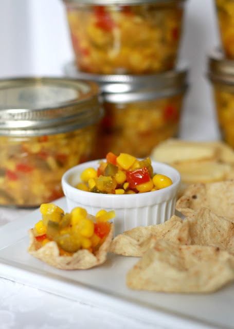 Colorful corn relish is a lovely side for meat or poultry and a tasty salsa-like dip treat served with chips. Easy canning recipe and how-to.