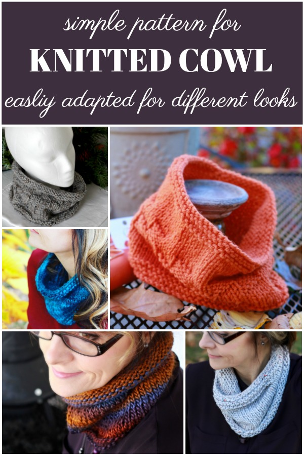Easy pattern for knitted cowl easily modified for many different looks.