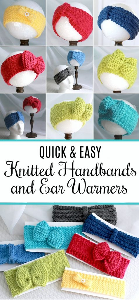 Keep those noggins warm with easy knitted headbands and ear warmers. Easily adjusted FREE pattern for different looks. They make great gifts too!
