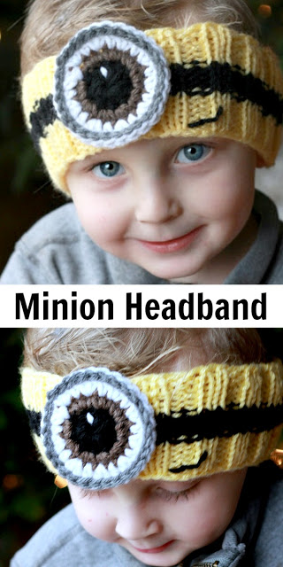 Adorable and easy knitted headband FREE pattern with crocheted eye keeps those little ears warm in a fun way.