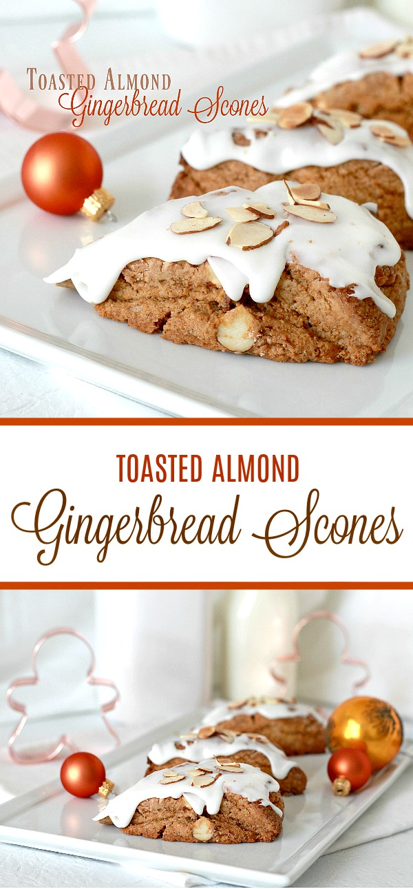 Toasted almond gingerbread scones are frosted and topped with a sprinkling of almonds. Delicious and festive holiday flavor for breakfast or coffee break.