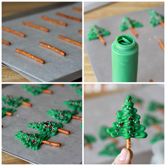 Easy to make, Chocolate Pretzel Christmas Tree Cupcake Toppers look so festive atop coconut frosted cupcakes. A yummy and decorative Christmas treat.