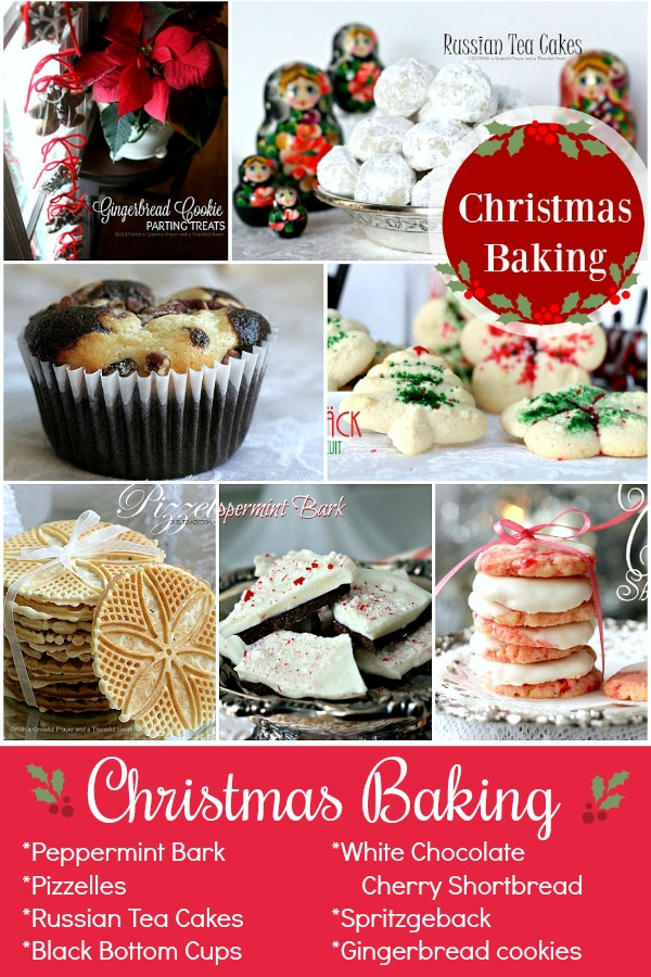 Easy recipes for your favorite holiday and Christmas baking. Pizzelles, Russian Tea cakes, Sprtizgeback, Gingerbread cookies, Black Bottoms Cups, Peppermint Bark and white chocolate cherry shortbread to fill your cookie tray and gift-giving packages.