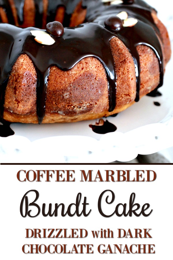 How to make an easy Coffee Marbled Bundt Cake with Dark Chocolate Ganache. Great birthday or any occasion dessert. Swirls of yellow cake and coffee flavored cake with a decadent dark chocolate ganache drizzled on top.