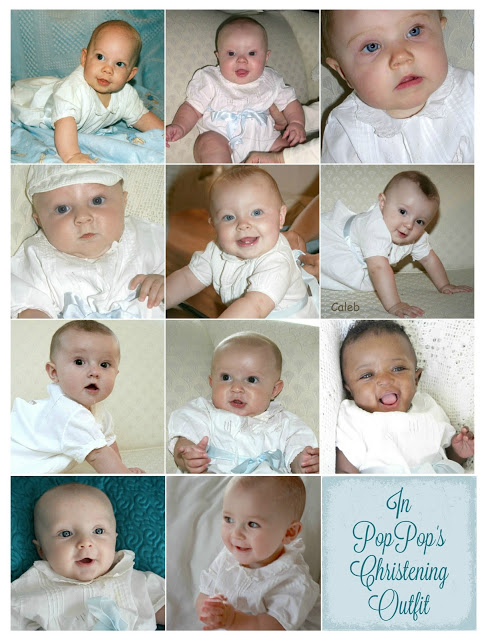 Tradition of children and grandchildren wearing their grandfather's vintage Christening outfit. Now is it Baby Joelle's Turn.