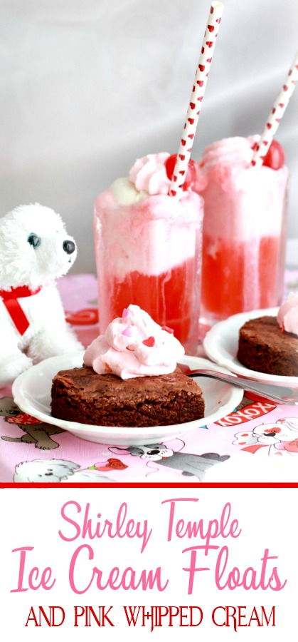 Fun and pretty Shirley Temples and pink whipped cream make delicious floats just right for Valentine's Day.