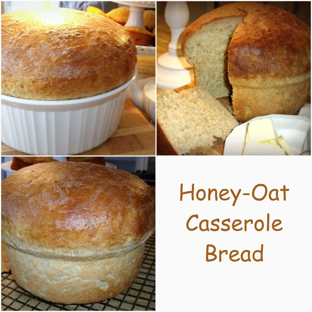 You won't be disappointed when you bake up this lovely Honey-Oat Casserole Bread. It looks beautiful and tastes delicious. A perfect accompaniment with a hot bowl of soup, crisp green salad or side with your favorite entree.