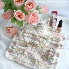 Knitted Heart Wash Cloth