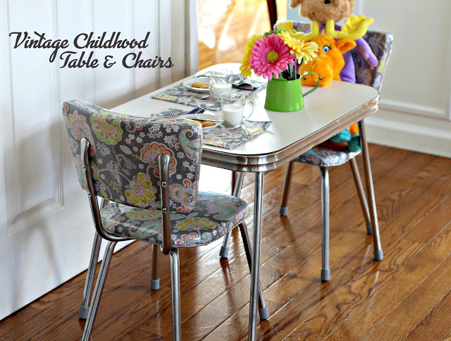 Restoring  my vintage childhood chrome table and chairs was a labor of love. This sweet mid-century Formica and chrome set has been in our family for many years.