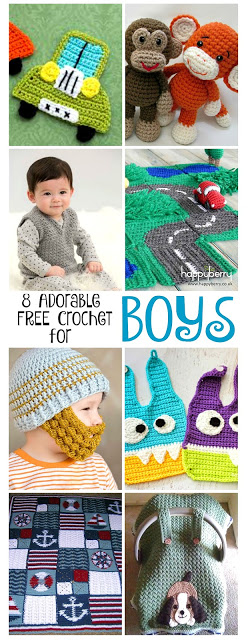 Finding cute crochet projects for boys is not as easy as for girls. This collection of adorable crochet patterns for BOYS with BOY themed projects are sure to please little guys in your life. And, they are all FREE!