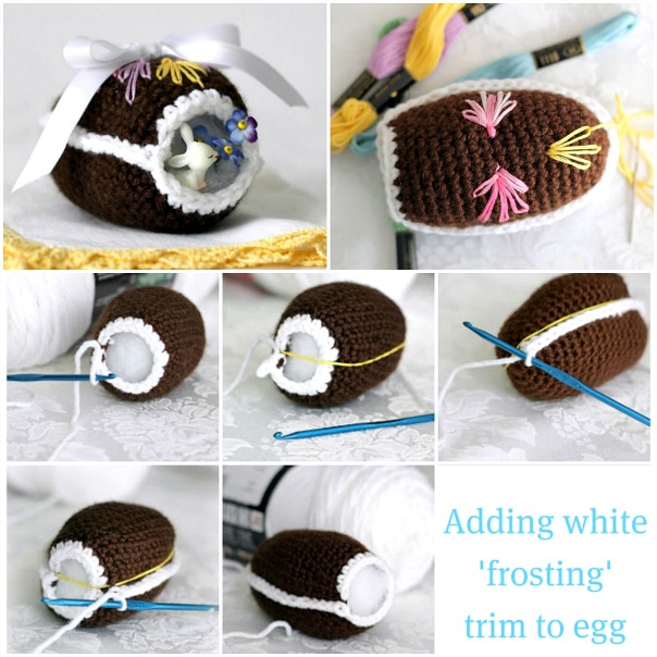 Sweet crochet Easter eggs are easy to make and lovely holiday decorations. Collection of FREE patterns, some vintage, to fill a basket with keepsakes to enjoy for generations. Tutorials include a chocolate diorama egg, an egg that opens for filling and then tied closed.