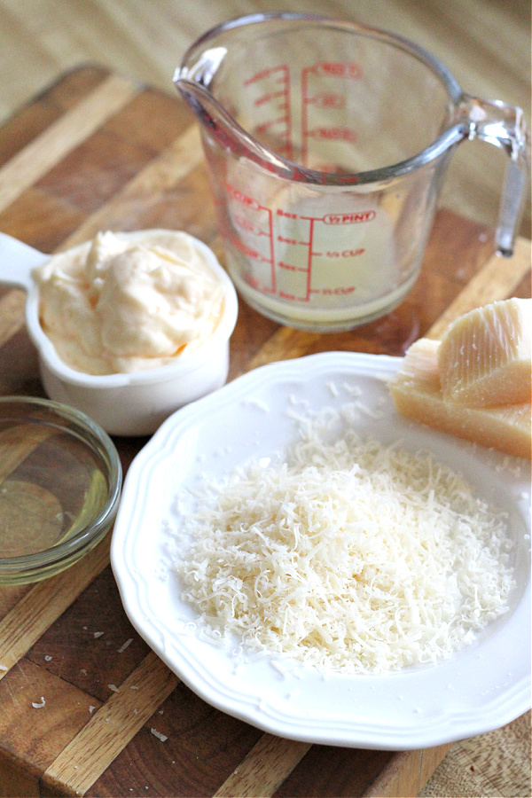 Parmesan cheese for Pasta Pesto and Peas
