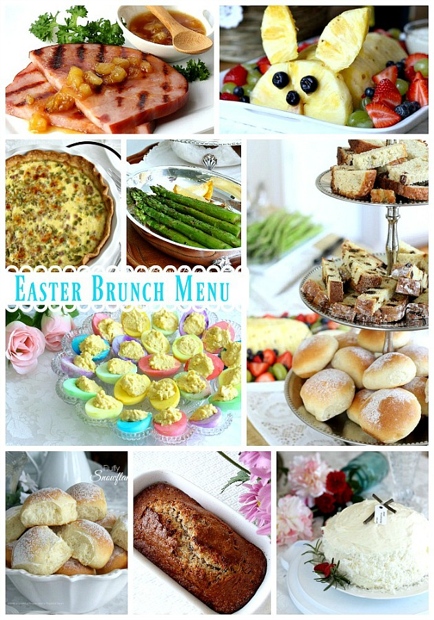A lovely Easter brunch menu includes baked ham with pineapple glaze, quiche Lorraine, roasted asparagus, deviled eggs, fruit, assorted breads and dessert. Easter is often a time of family gatherings, sunrise church services, fancy clothes and colorfully dyed eggs and a special meal.