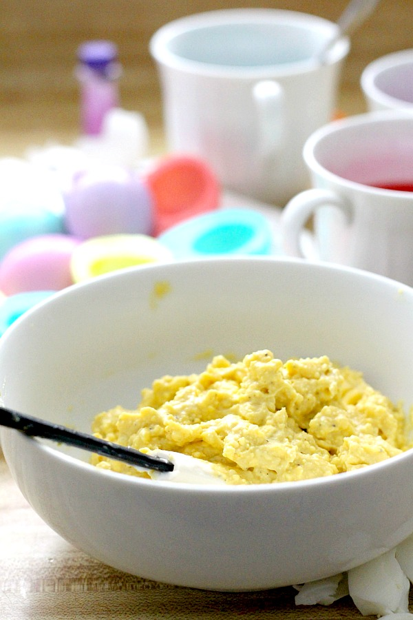 Add these lovely pastel colored eggs to your Easter brunch. Colored whites are filled with a classic deviled egg mixture for a favorite appetizer or breakfast dish.