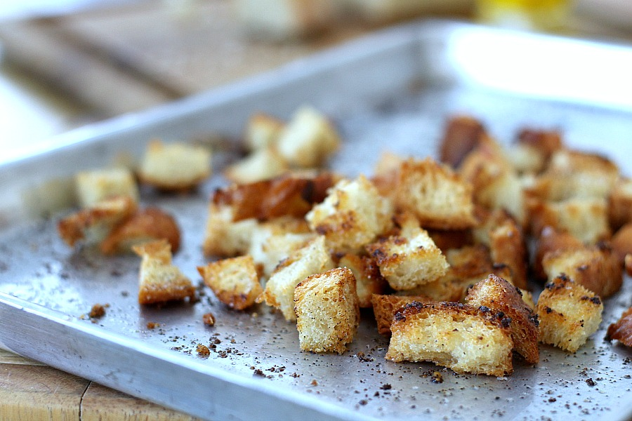 Homemade croutons to top salad with Buttermilk Ranch Dressing.