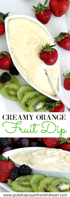 Super easy recipe for a delicious orange fruit dip made with cream cheese, orange zest, orange juice, cream and confectioners' sugar. It is the best!
