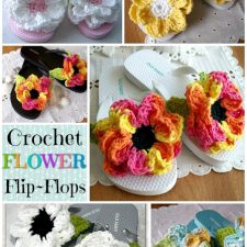 Cute Summertime Flip-Flops with Crochet Flowers for Kids and Adults
