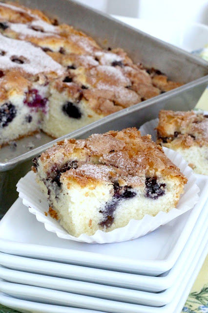 Easy recipe for Blueberry Boy Bait. Tender crumb texture cake loaded with berries and a lightly crunchy cinnamon sugar topping. Classic, vintage recipe.