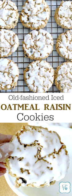 A delicious, old fashioned recipe for a cookie like Grandma made. Oatmeal Raisin Cookies are a favorite, frosted with a glaze and amazing with milk.