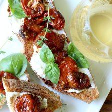 London, England Jamie Oliver Inspired Roasted Cherry Tomato Bruschetta with Creamy Ricotta