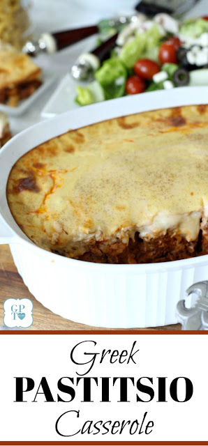 Easy recipe for classic Pastitsio Greek Casserole, a pasta dish that contains ground beef and béchamel sauce.